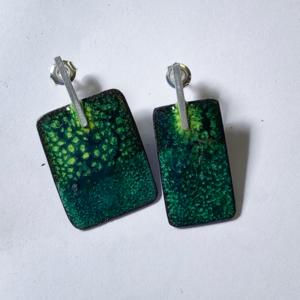 Oorbellen-emaille-zilver-koper-groen-geel
