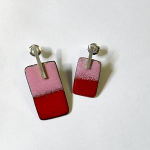Oorbellen-emaille-zilver-koper-roze-rood